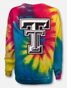 Texas Tech Red Raiders Double T Tie Dye Crew Sweatshirt