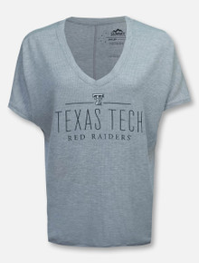 Summit Texas Tech Red Raiders Black and White Double T Waffle V Neck Top