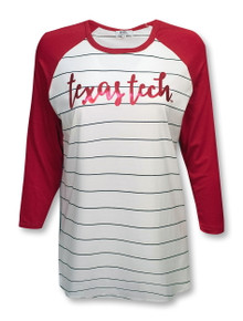Texas Tech Red Raiders Script Thin Striped Piko 3/4 Sleeve Blouse