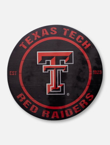 Texas Tech Red Raiders Double T over Red Raiders on Circle Wood Sign