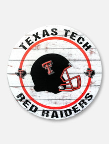 Texas Tech Red Raiders with Helmet on Weathered Circle Wood Sign