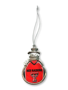 Texas Tech Red Raiders Snowman Ornament with Red Epoxy Football Jersey