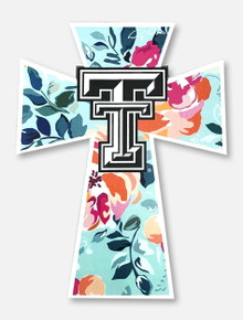 Texas Tech Red Raiders Mint Floral Cross Decal