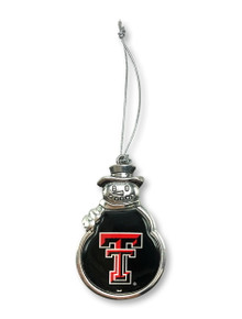 Texas Tech Red Raiders Double T Snowman Ornament with Epoxy Dome