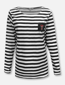 UG Apparel Texas Tech Red Raiders Pocket with Elbow Patches Striped Tunic