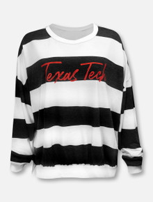 "LivyLu Texas Tech Red Raiders ""Brush Stroke"" Side Split Striped Sweater"