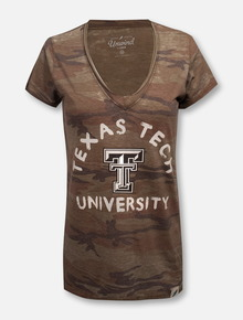 League Texas Tech Red Raiders Arch over Double T Camo V-Neck T-Shirt