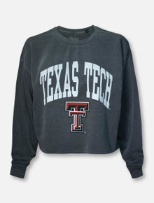 Blue 84 Texas Tech Red Raiders Arch over Double T Cropped Sweatshirt