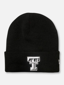 New Era Texas Tech Red Raiders Black and White Double T Knit Beanie