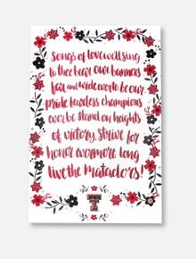Texas Tech Red Raiders Matador Song Floral Wreath Wall Art