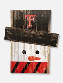 Texas Tech Red Raiders Wooden Snowman Wall Art