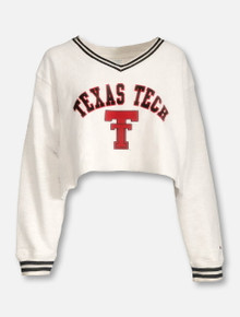 "Champion Texas Tech Red Raiders ""Dorm Dayz"" V-Neck Crop Sweatshirt"