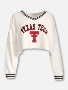 "Champion Texas Tech Red Raiders ""Dorm Dayz"" V-Neck Crop Sweatshirt"