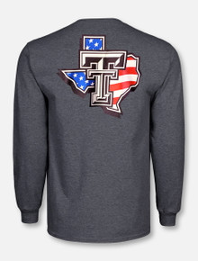 "Texas Tech Red Raiders Black and White Double T ""American Flag Pride""  Long Sleeve T-Shirt"