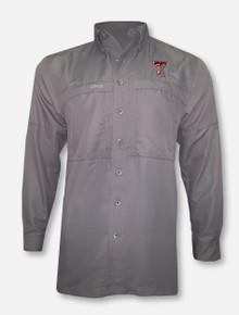 Game Guard Texas Tech Double T Fishing Charcoal Long Sleeve Dress Shirt