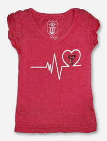 Texas Tech TODDLER Heartbeat Red Ruffle Sleeve T-Shirt