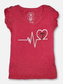 Texas Tech TODDLER Heartbeat Red Ruffle Sleeve T-Shirt