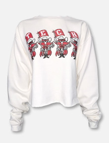 "Blue 84 Texas Tech Red Raiders ""Flag Squad"" White Cropped Sweatshirt"