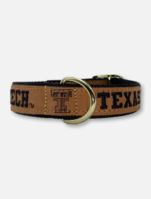 Texas Tech Red Raiders Tan Leather Embroidered Collar