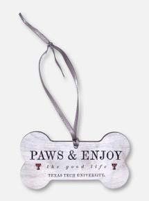 "Legacy Texas Tech Red Raiders Double T ""Paws & Enjoy"" Dog Bone Wooden Ornament"