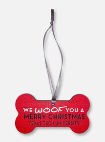 """Legacy Texas Tech Red Raiders  """"We Woof You A Merry Christmas"""" Dog Bone Wooden Ornament"""