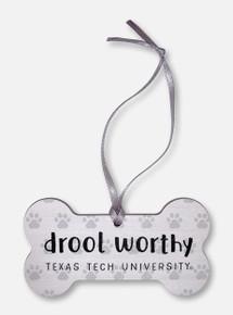 """Legacy Texas Tech Red Raiders  """"Drool Worthy"""" Dog Bone Wooden Ornament"""