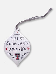 """Legacy Texas Tech Red Raiders Double T """"Our First Christmas as Mr. and Mrs."""" Wooden Ornament"""
