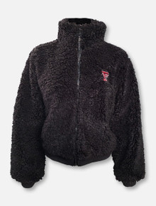Millenial Pink Texas Tech Red Raiders Double T Black Poodle Full Zip Jacket