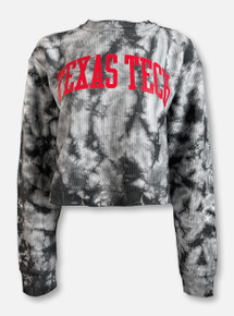 Pressbox Texas Tech Red Raiders Classic Arch In Red on Tie-Dye Corduroy Long Sleeve Crop T-Shirt