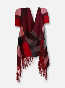 Texas Tech Red Raiders Red And Black Plaid Shawl Wrap With Sleeves
