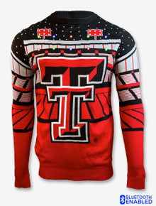 Texas Tech Red Raiders Double T Bluetooth Light Up Christmas Sweater With Speaker