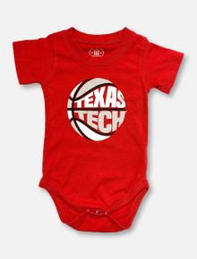 Texas Tech INFANT Puff Print Red Basketball Onesie