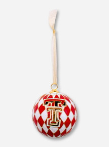Kitty Keller Double T on Diamond Pattern Cloisonne Ornament - Texas Tech