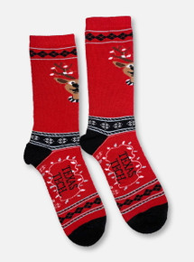 Texas Tech Red Raiders Double T Reindeer Christmas Sweater Socks