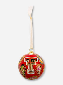 Kitty Keller Double T on Multicolor Paisley Pattern Cloisonne Ornament - Texas Tech