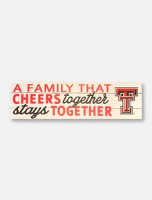 "Texas Tech Red Raiders Double T ""A Family that Cheers"" 35x10 Wood Sign"
