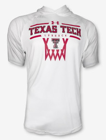 "Under Armour 2020 Texas Tech Red Raiders Basketball "" Hooded On The Court"" Shooter Short Sleeve White T-Shirt"