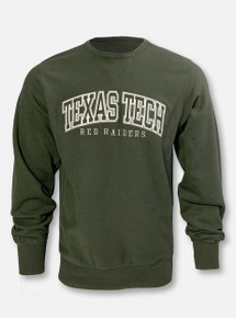 """Champion Texas Tech Red Raiders """"Vintage Wash Tackle Twill"""" Olive Green  Reverse Weave Crew"""