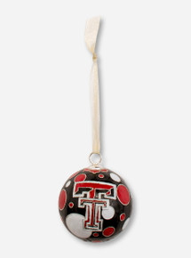 Kitty Keller Double T on Polka Dot Pattern Cloisonne Ornament - Texas Tech