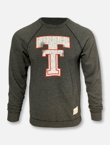 Texas Tech Red Raiders Throwback Double T Charcoal Crew Neck Pullover Sweatshirt