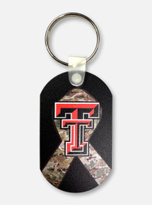 Texas Tech Red Raiders Double T Camouflage Ribbon Dog Tag Keychain