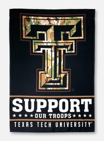 Texas Tech Red Raiders Support Our Troops Vertical Camouflage House Flag
