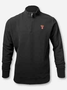"""Peter Millar Texas Tech Red Raiders Double T  """"Melange Fleece"""" Black Quarter Zip Pullover"""