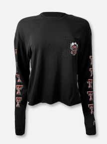 "Texas Tech Red Raiders Double T Raider Red ""Cut Off Midi"" Black Long Sleeve Shirt"