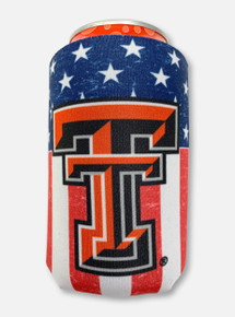 Texas Tech Red Raiders Double T American Flag Can Cooler