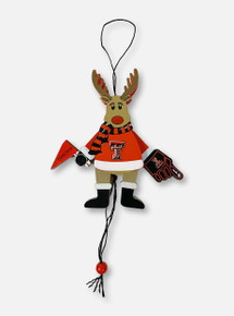 Texas Tech Red Raiders Double T Cheering Reindeer Ornament
