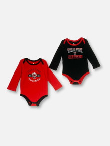 "Arena Texas Tech Red Raiders Double T INFANT ""2Pack"" Long Sleeve Red And Black Onesie Set"