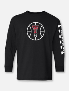 """YOUTH Texas Tech Red Raiders """"Court in Session"""" 2020 Basketball Black Long sleeve T-Shirt"""