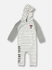 """Arena Texas Tech Red Raiders Double T INFANT """"Fozzie""""Striped Hooded Romper"""