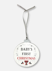 """Legacy Texas Tech Red Raiders Double T """"Baby's First Christmas"""" Wooden Ornament In White"""